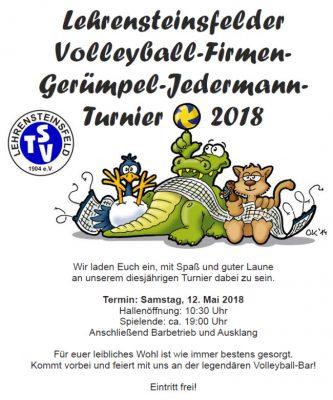 Einladung zum Volleyball-Firmen-Gerümpel-Jedermann-Turnier 2018